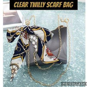 Handbags - 3/$20👜Clear Twilly Scarf Crossbody bag